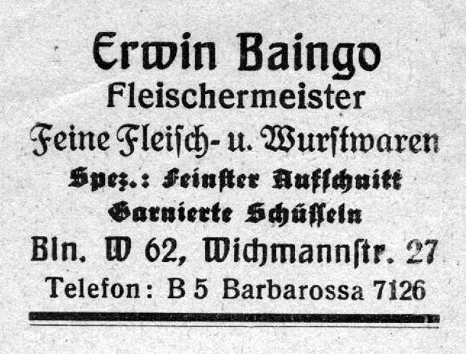 Erwin Baingo 1935 Berlin