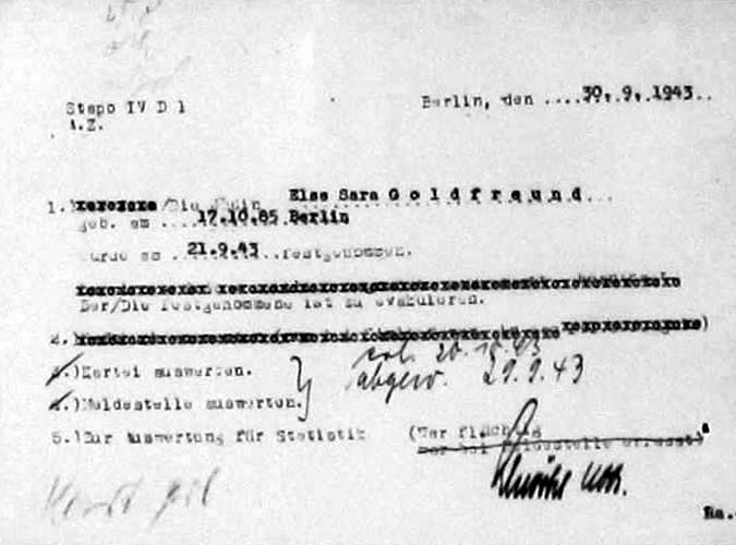 Else Goldfreund - 1943, 21 Sept document