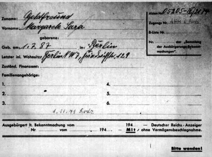 Margarete Goldfreund deported to lodz 1941, 1 November