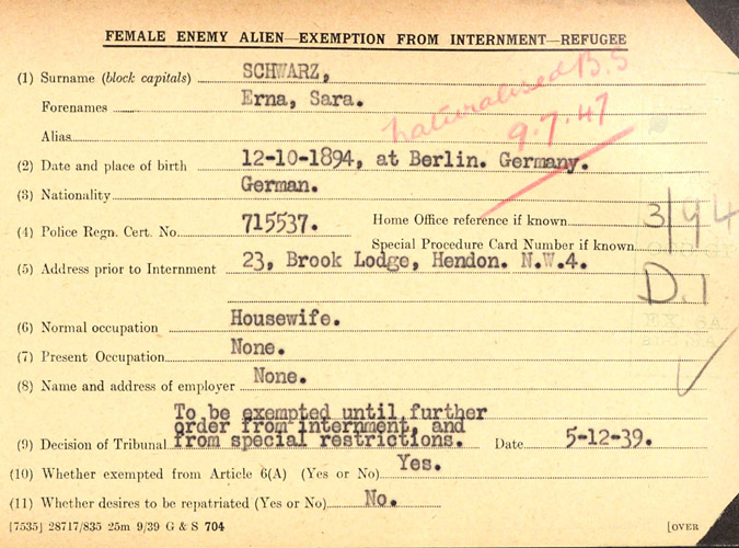 WWII Alien internees UK - December 1939 Erna Goldfreund Schwarz