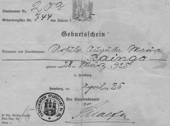 Ursula Augusta Maria Baingo geburtschein
